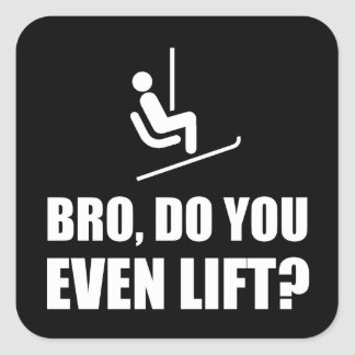 Bro Ski Lift Square Sticker