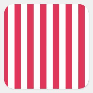 Broad Stripes - White and Crimson Square Sticker
