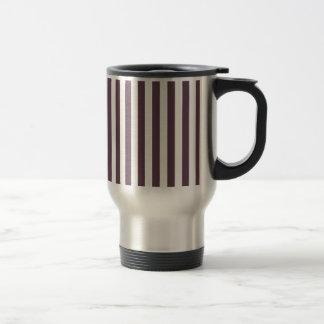 Broad Stripes - White and Eggplant Travel Mug