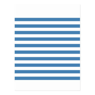 Broad Stripes - White and Steel Blue Postcard