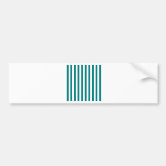 Broad Stripes - White and Teal Bumper Sticker