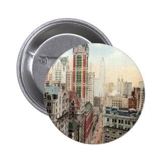 Broadway Downtown NYC Vintage 1913 6 Cm Round Badge