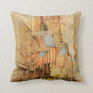 Broadway Election Day Flag New York City Vintage Cushion