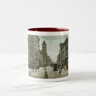 Broadway, Los Angeles, California 1910 vintage Two-Tone Coffee Mug