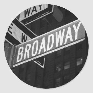 Broadway Street Sign Classic Round Sticker