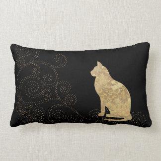 Brocade Cat with Stitches Lumbar Pillow