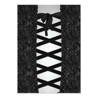 "Brocade Corset Look Goth Wedding 5"" X 7"" Invitation Card"