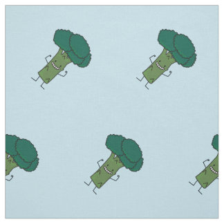 Broccoli Flexing happy tree head green vegetable Fabric