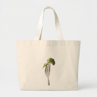 Broccoli held by a fork canvas bag