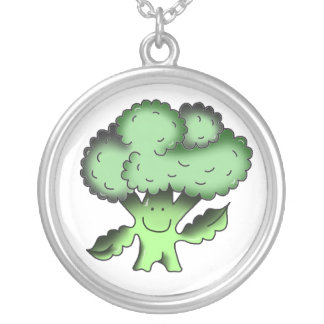 broccoli organic traditional vegan silver plated necklace