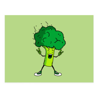 Broccoli rocks! Cool vegetable cartoon Postcard