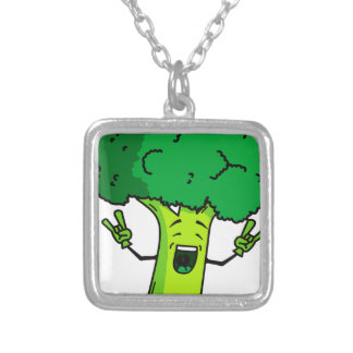 Broccoli rocks! Cool vegetable cartoon Silver Plated Necklace