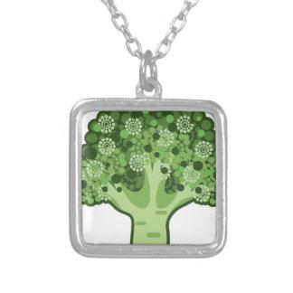 Broccoli Vector Icon Silver Plated Necklace