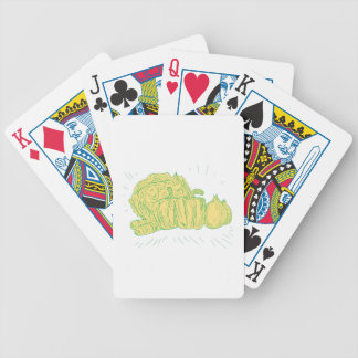 Brocolli Capsicum Onion Drawing Bicycle Playing Cards