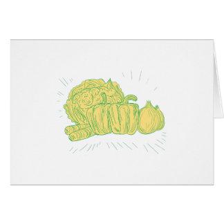 Brocolli Capsicum Onion Drawing Card