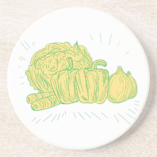 Brocolli Capsicum Onion Drawing Coaster