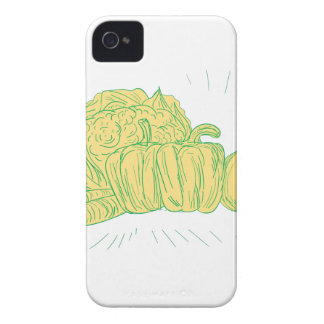 Brocolli Capsicum Onion Drawing iPhone 4 Cover