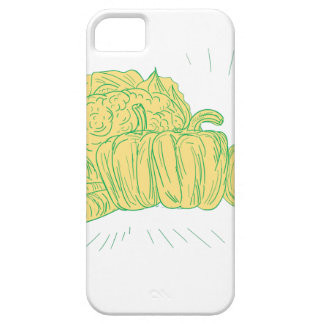 Brocolli Capsicum Onion Drawing iPhone 5 Cover