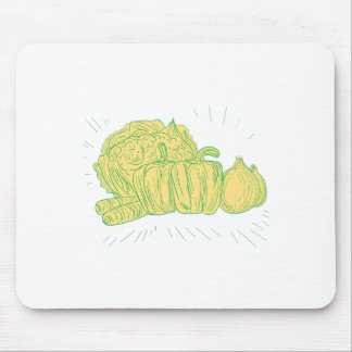 Brocolli Capsicum Onion Drawing Mouse Pad