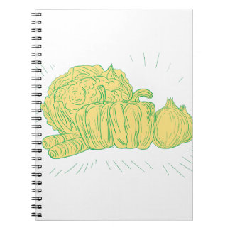 Brocolli Capsicum Onion Drawing Spiral Notebook