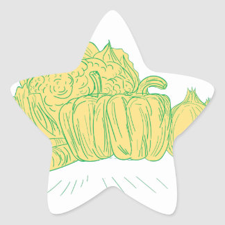 Brocolli Capsicum Onion Drawing Star Sticker