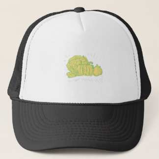 Brocolli Capsicum Onion Drawing Trucker Hat