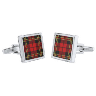 Brodie Red Clan Tartan Plaid Silver Finish Cufflinks