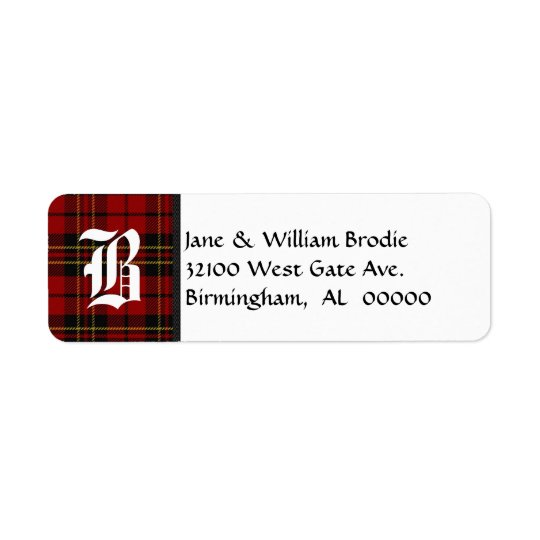 Brodie Tartan Plaid Monogram Address Labels