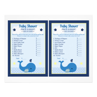 Brody Whale Nautical Price Game Baby Shower 21.5 Cm X 28 Cm Flyer