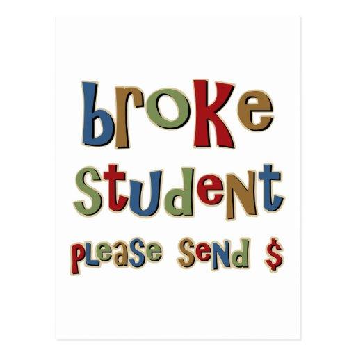 Broke Student Please Send Money Post Card