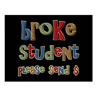 Broke Student Please Send Money Postcard