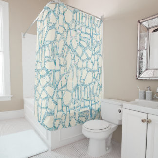 BROKEN blue off white Shower Curtain