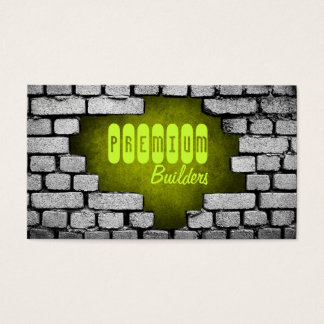broken brick wall construction business card