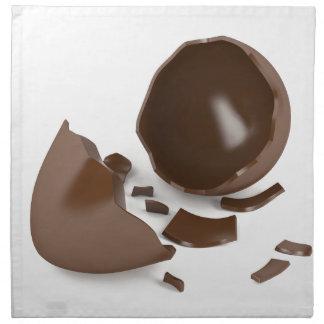 Broken chocolate egg napkin
