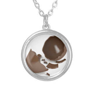 Broken chocolate egg silver plated necklace