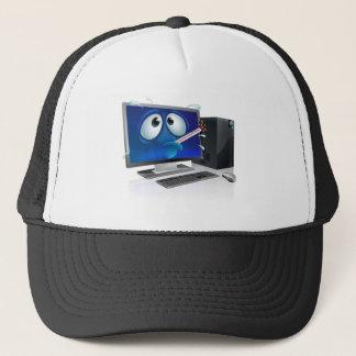 Broken computer virus cartoon trucker hat