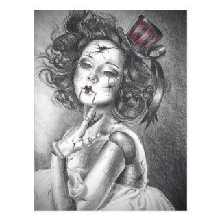 Broken Doll Postcard Creepy Doll Carnival Doll