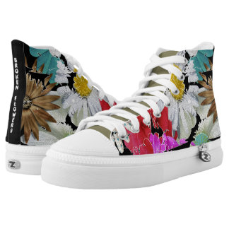Broken Flowers Hippie Design Printed Shoes