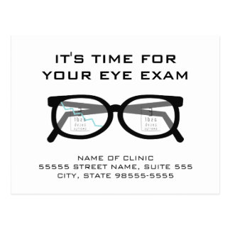 Broken Glasses Eye Exam Appointment Reminder Postcard
