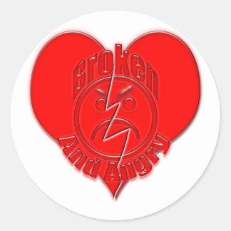 Broken Heart Angry Sad Face Round Sticker