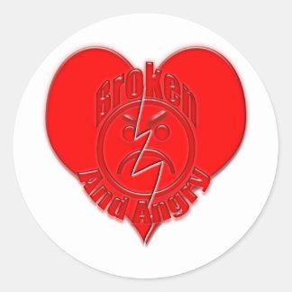 Broken Heart Angry Sad Face Sticker