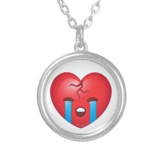 Broken Heart Emoji Silver Plated Necklace