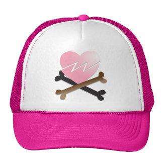 broken heart on crossbones cap