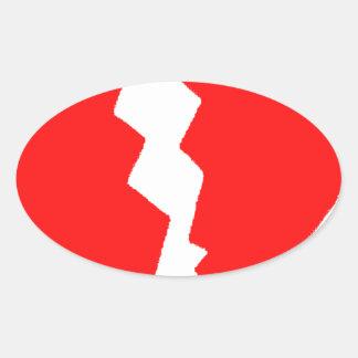 Broken Heart Oval Sticker