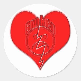 Broken Heart Sad Face Round Sticker
