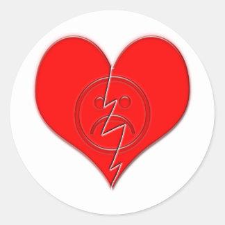 Broken Heart Sad Face Round Stickers