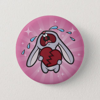 Broken Hearted Bunny with Pink Sunburst Button