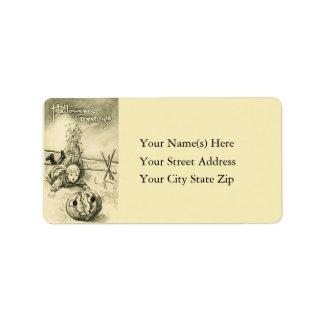 Broken Jack O Lantern Vintage Address Label