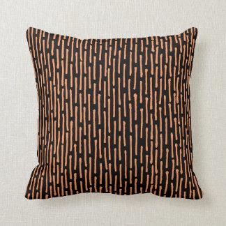 Broken Lines - Peach on Black Throw Cushions