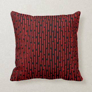 Broken Lines - Red on Black Cushions
